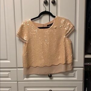 BCBG sequin and silk top